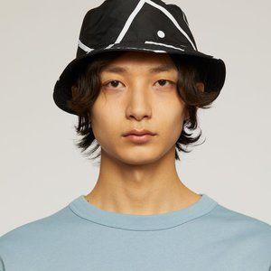 ❀❀❀ Acne Studios Face Motif Bucket Hat Black